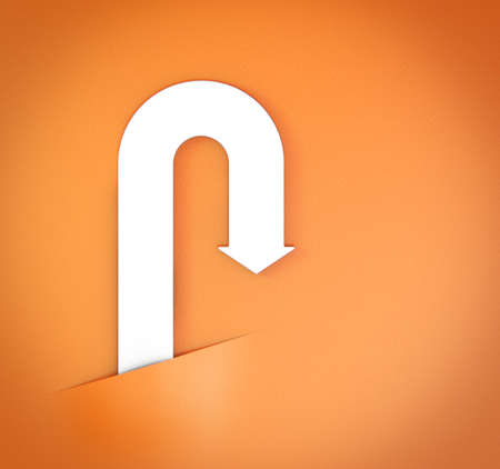 ascendant: abstract bent white arrow on orange paper background 3d model
