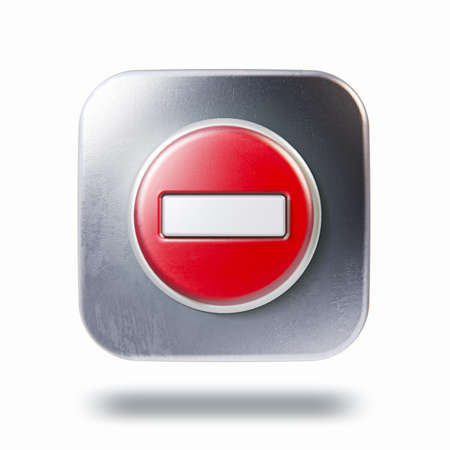 square button: Scratched metallic square icon with no entry symbol isolated on white