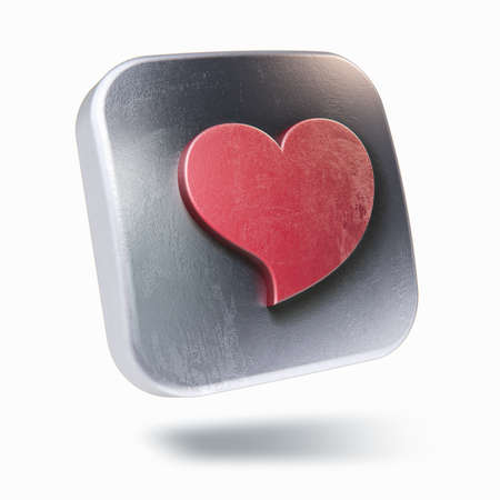 square buttons: Scratched metalic square icon with bent heart symbol inside isolated on white