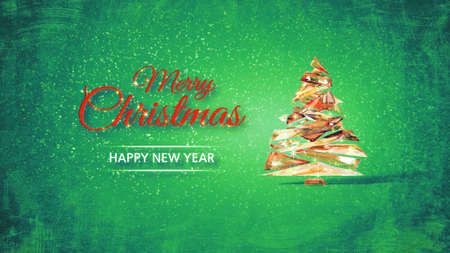 Merry Christmas and Happy New Year with stylized glass Christmas tree on green frozen background. Abstract Christmas concept 3d render.