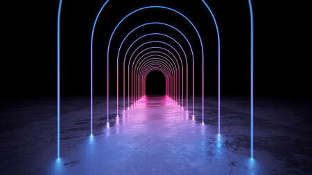 Abstract glowing neon arch tunnel with pespective view 3d render.