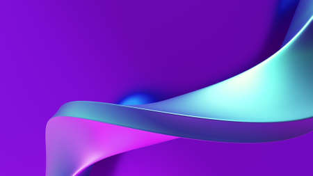 Abstract bended metallic form with glow rotation 3d render on purple background.