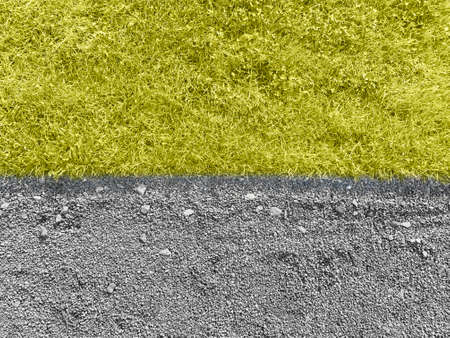 Grass and gravel with trend color 2021 year. Yellow and Gray concept. Zdjęcie Seryjne