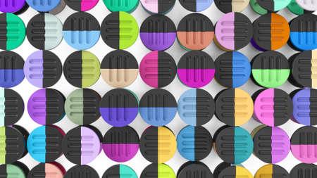 abstract colorful circle simple forms 3d render Zdjęcie Seryjne