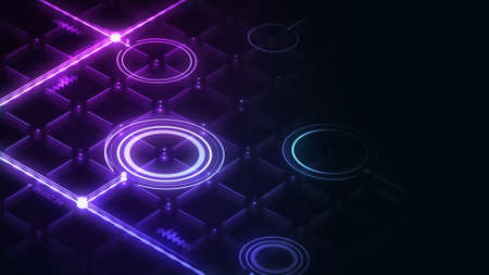 Isometric digital interface with glowing lines and circles 3d render. Abstract neon grid interface render on dark background. Zdjęcie Seryjne