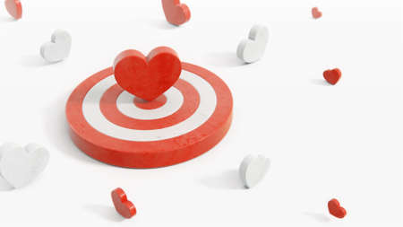 Red heart symbol in the center of a target with red and white hearts around 3d render. Valentine's symbols in white studio with camera depth of field effect.