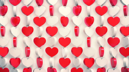 Red and white hearts pattern 3d render. Rotating of valentine's symbols on white background. Zdjęcie Seryjne