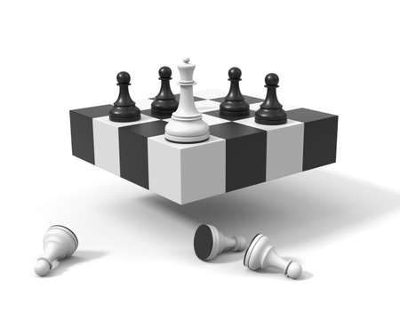 Chess concept. Queen and pawns on a symbolic chessboard 3d render. Chessmen in the corner, white pawns on the ground.