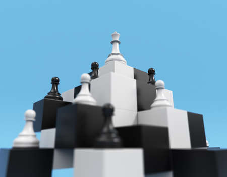 Chess concept. Queen and pawns on a symbolic chessboard 3d render. Chessmen on cubic pyramid, the white queen above the pawns.