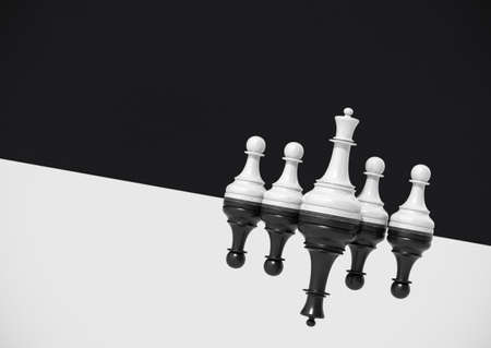 Chess concept, white queen and pawns vs black queen and pawns 3d render. Chessmen in diagonal reflection on black and white background. Zdjęcie Seryjne