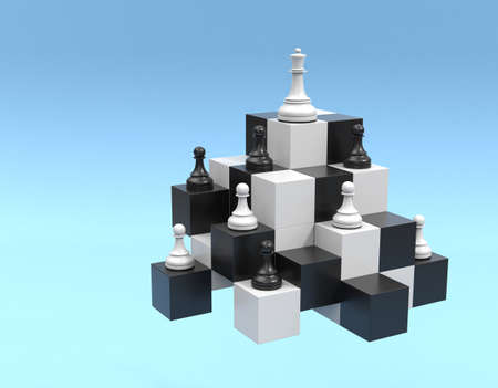 Chess concept. Queen and pawns on a symbolic chessboard 3d render. Chessmen on cubic pyramid, the queen rises above the pawns.