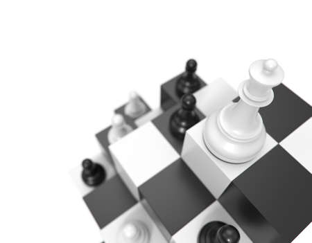 Chess concept. Queen and pawns on a symbolic chessboard 3d render. The white queen above the pawns.