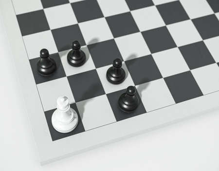 Chess concept, white queen vs black pawns. Queen and pawns on a chessboard 3d render. Chessmen in the corner.