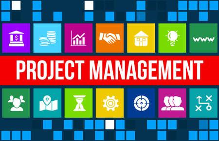 gestion empresarial: Imagen del concepto de Gesti�n de Proyectos con iconos de negocios y copyspace. Foto de archivo