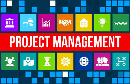 people management: Project Management concept image with business icons and copyspace.