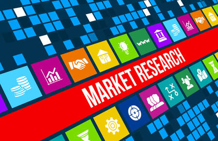 Market Research concept image with business icons and copyspace.