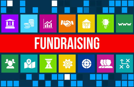 fundraising: Fundraising concept image with business icons and copyspace.