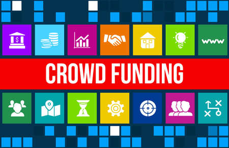 crowdfunding concept image with business icons and copyspace.