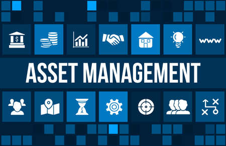 asset: Asset management concept image with business icons and copyspace.