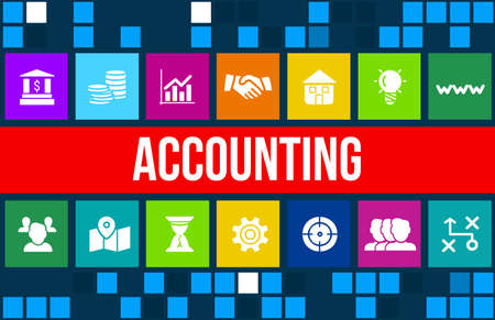 accountancy: Accounting and accountancy concept image with business icons and copyspace. Stock Photo