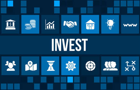 invest: Invest concept image with business icons and copyspace.