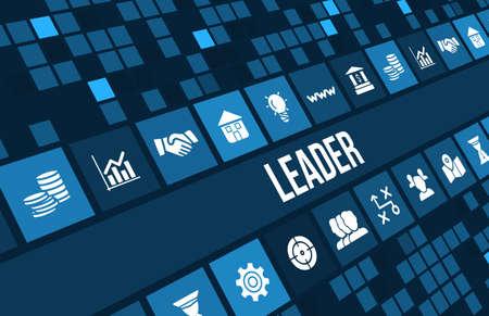 lider: Imagen del concepto líder con iconos de negocios y copyspace.