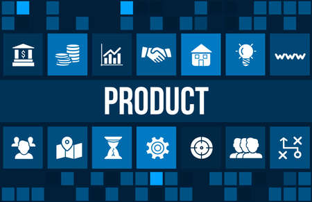 product: Product concept image with business icons and copyspace. Stock Photo