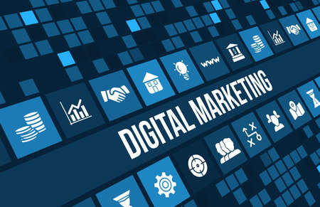 Digital Marketing concept image with business icons and copyspace.