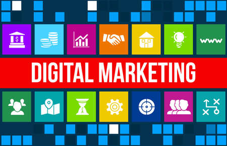 marketing concept: Digital Marketing concept image with business icons and copyspace.