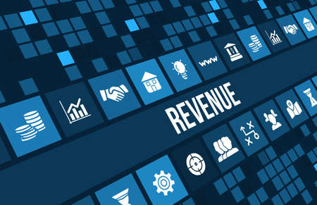 revenue: Revenue concept image with business icons and copyspace. Stock Photo