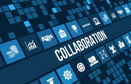 gerente: Imagen del concepto Collobration con iconos de negocios y copyspace.