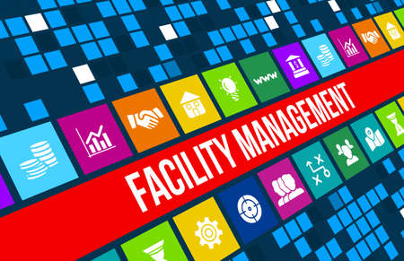 facility: Facility management concept image with business icons and copyspace.