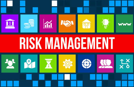 risk analysis: Risk Management concept image with business icons and copyspace.