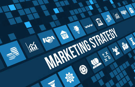 business media: Marketing Strategy concept image with business icons and copyspace. Stock Photo