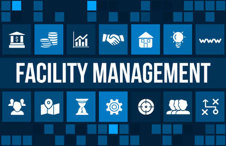 Facility management concept image with business icons and copyspace.