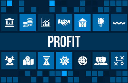 profitability: Profit concept image with business icons and copyspace. Stock Photo