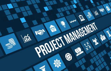 profesionistas: Imagen del concepto de Gesti�n de Proyectos con iconos de negocios y copyspace. Foto de archivo