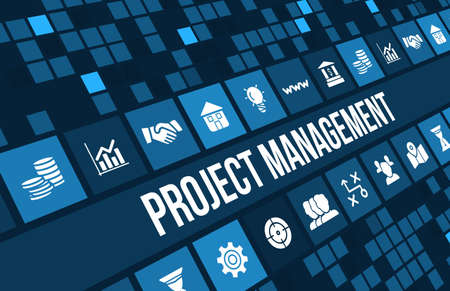 managers: Project Management concept image with business icons and copyspace.