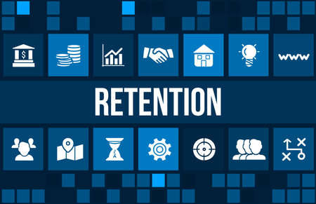 advertising: Retention concept image with business icons and copyspace. Stock Photo
