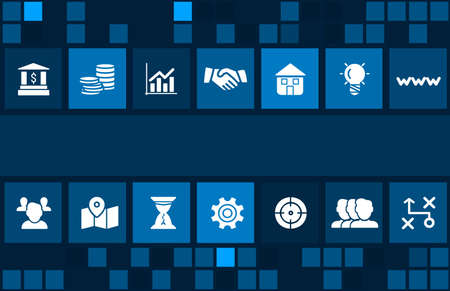 Business concept image with business icons and copyspace. Excellent for business, strategy, leadership, success, financial, marketing, research, growth and  investment concepts Standard-Bild