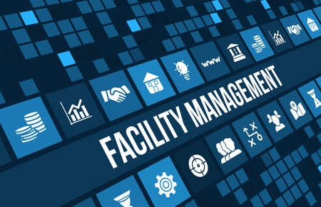 Facility management concetto di immagine con le icone di affari e copyspace. Archivio Fotografico - 44464273