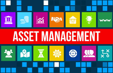 property management: Asset management concept image with business icons and copyspace.