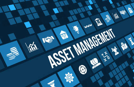 Asset management concept image with business icons and copyspace.