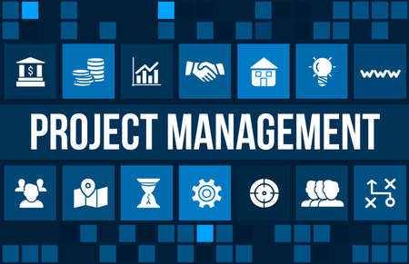 Project Management concept image with business icons and copyspace.