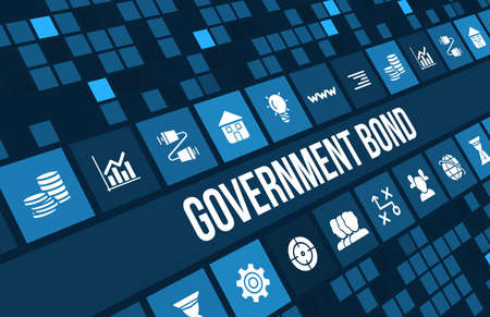 goverment: Goverment Bond concept image with business icons and copyspace.