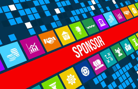 Sponsor  concept image with business icons and copyspace.