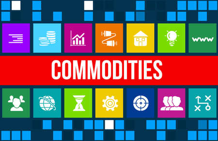commodities: Imagen del concepto Commodities con iconos de negocios y copyspace.