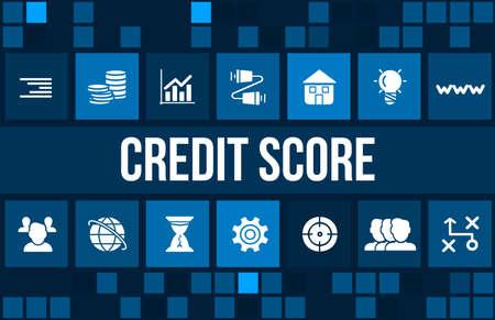 registros contables: Credit Score concept image with business icons and copyspace. Foto de archivo