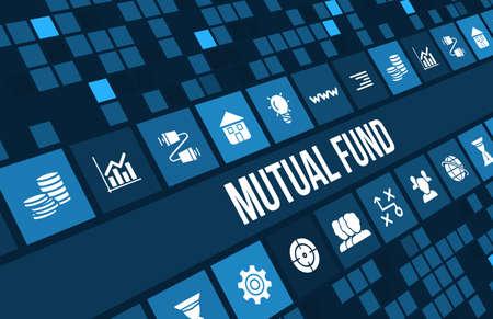 Image concept de fonds communs de placement avec des icônes d'affaires et copyspace.