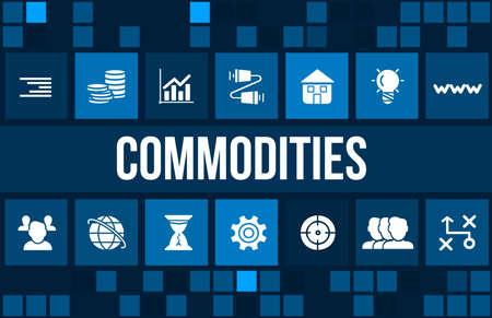 commodities: Imagen del concepto Commodities con iconos de negocios y copyspace.